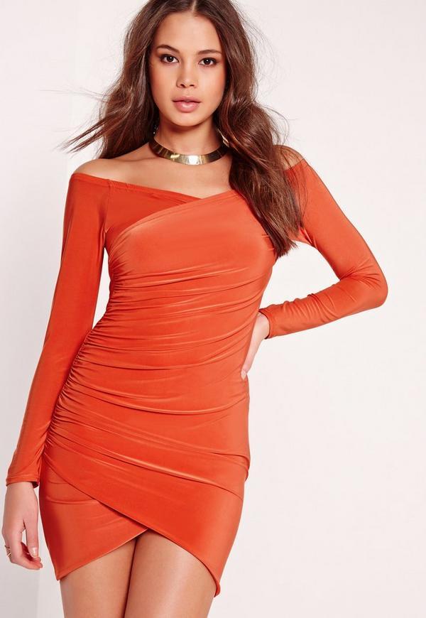 Slinky Bardot Bodycon Dress Orange