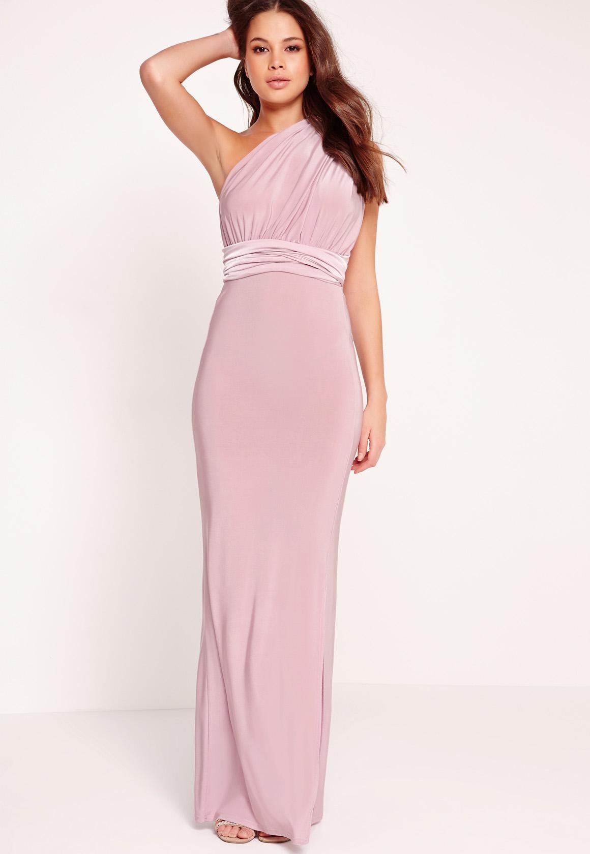 Vestido largo ceñido multiposición lila | Missguided