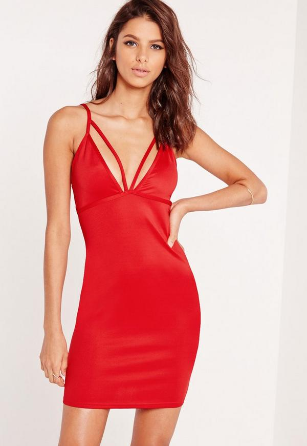 Strappy Scuba Bust Cup Bodycon Dress Red