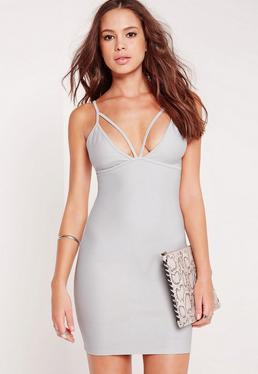Strappy Bodycon Dress Ice Grey