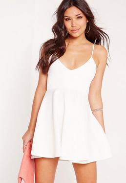 Strappy Plunge Skater Dress White