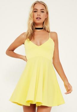 Yellow Strappy Plunge Skater Dress
