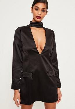 Silky Choker Neck Shift Dress Black