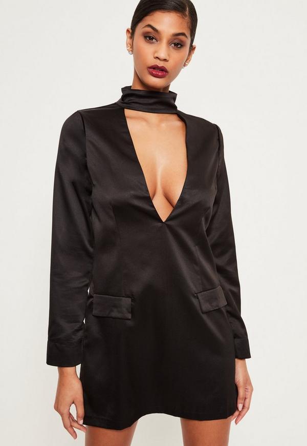 Silky Choker Neck Shift Dress Black