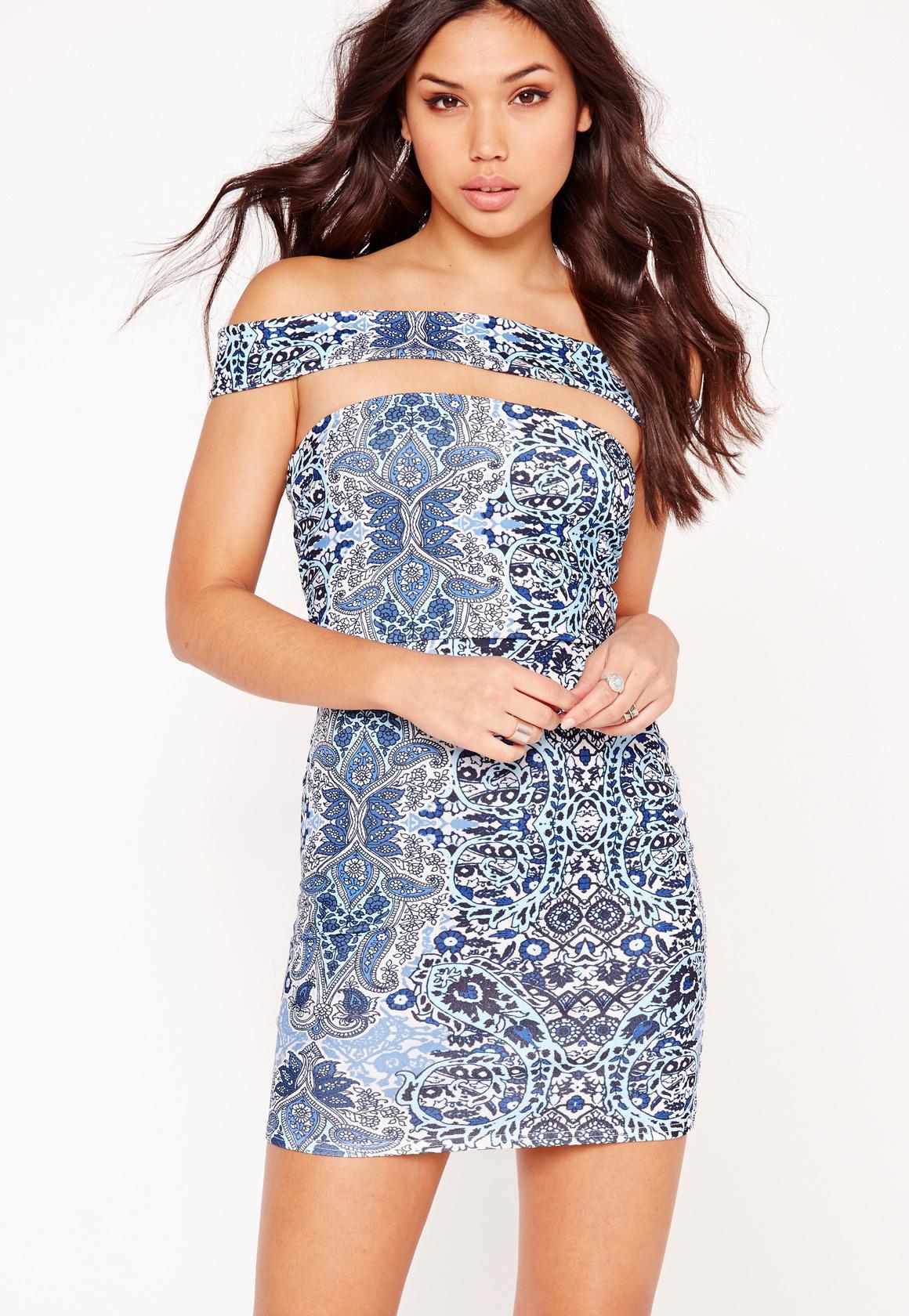 Cut Out Panel Bardot Bodycon Dress Blue Porcelain