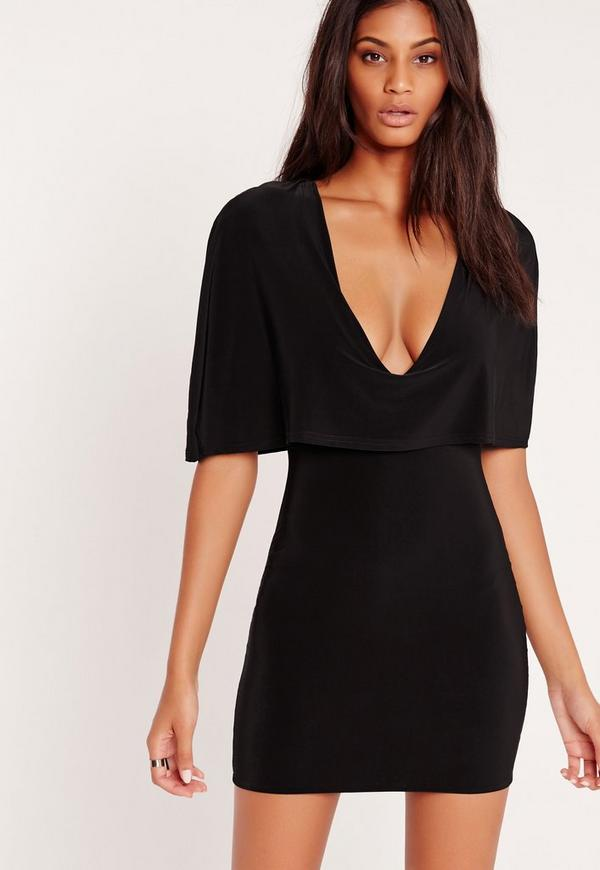 Plunge Slinky Cape Dress Black
