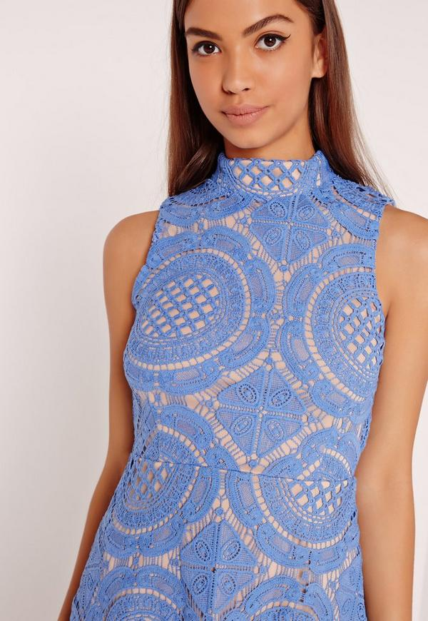High Neck Lace Skater Dress Blue Missguided