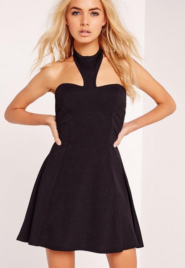 Crepe Halter Neck Skater Dress Black
