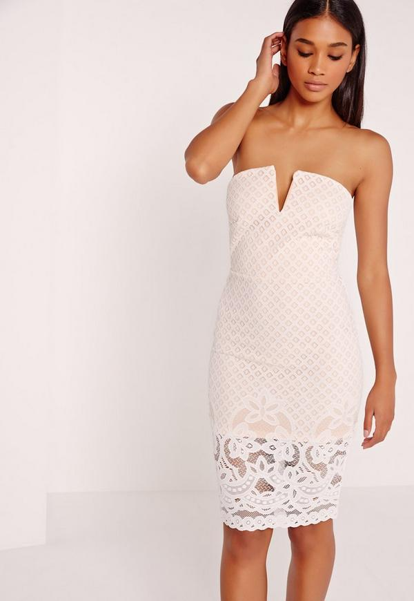 Lace Bandeau Midi Dress Nude