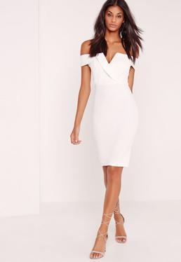 Lilac Bardot Plunge Midi Dress