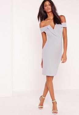 Bardot Plunge Midi Dress Grey