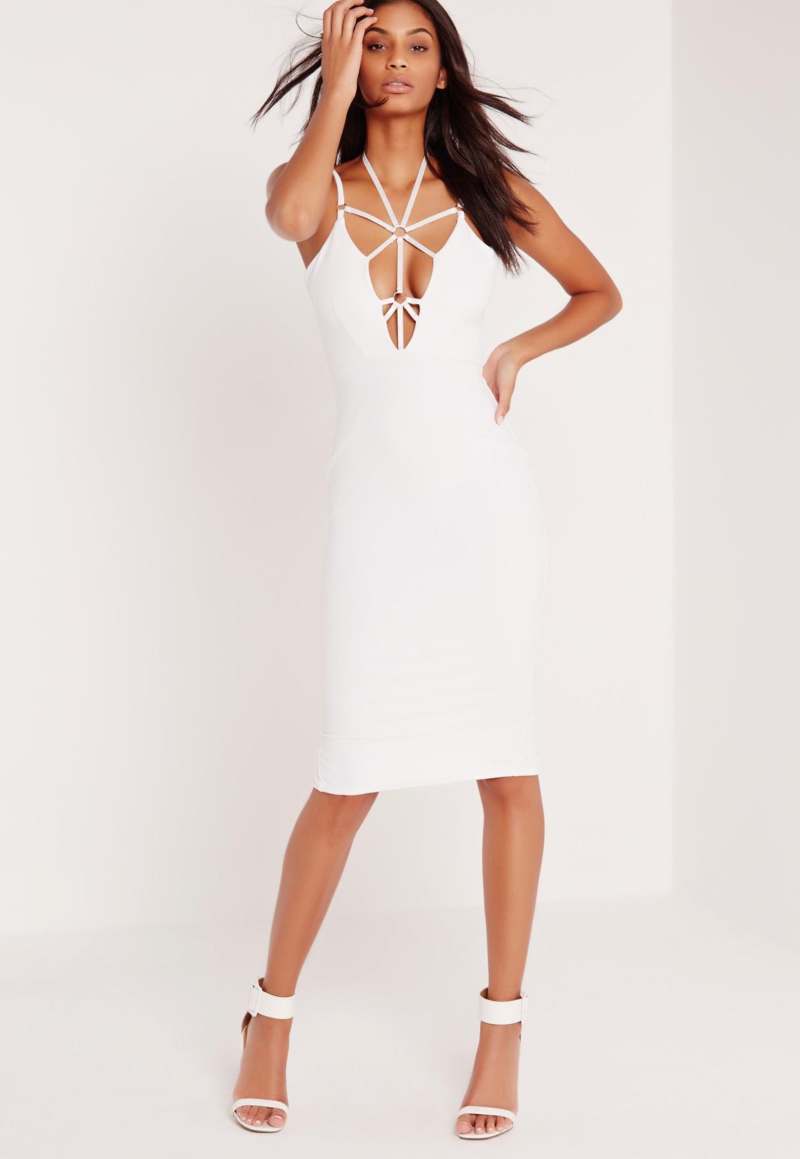 Harness Neck Bodycon Midi Dress White