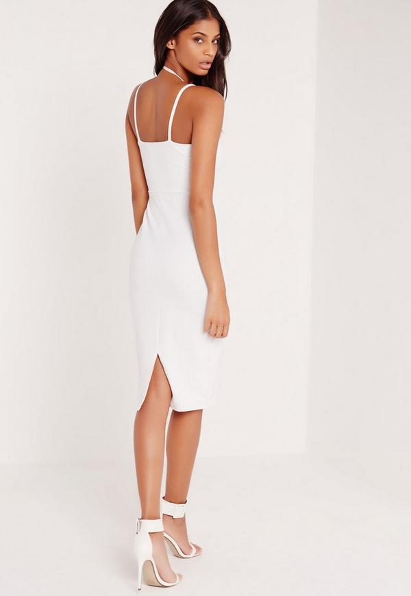Harness Neck Bodycon Midi Dress White | Missguided