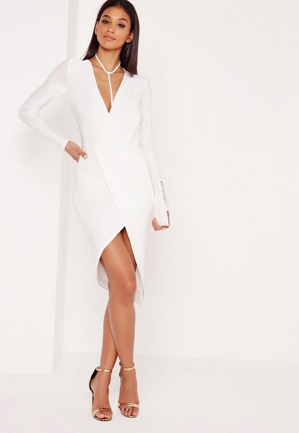Wrap Harness Slinky Mini Dress White