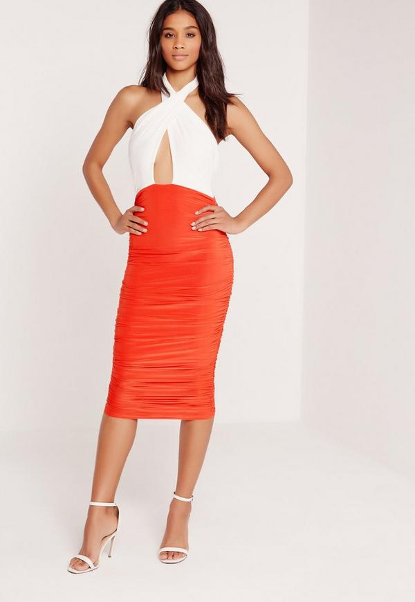 Ruched Wrap Front Midi Dress Orange