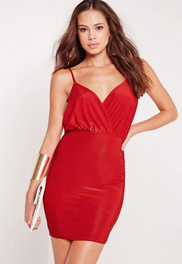 Slinky Cross Neck Bodycon Mini Dress Red