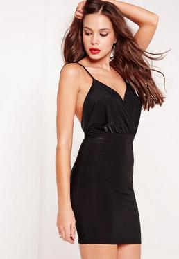 Slinky Strappy Plunge Bodycon Dress Black