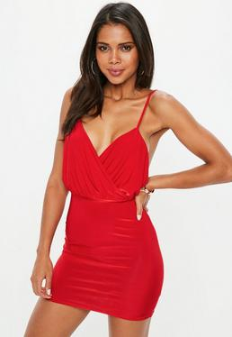 Slinky Strappy Plunge Bodycon Dress Red