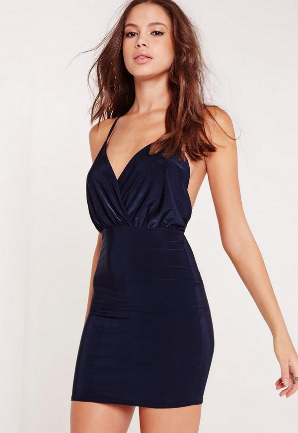 Slinky Strappy Plunge Bodycon Dress Navy