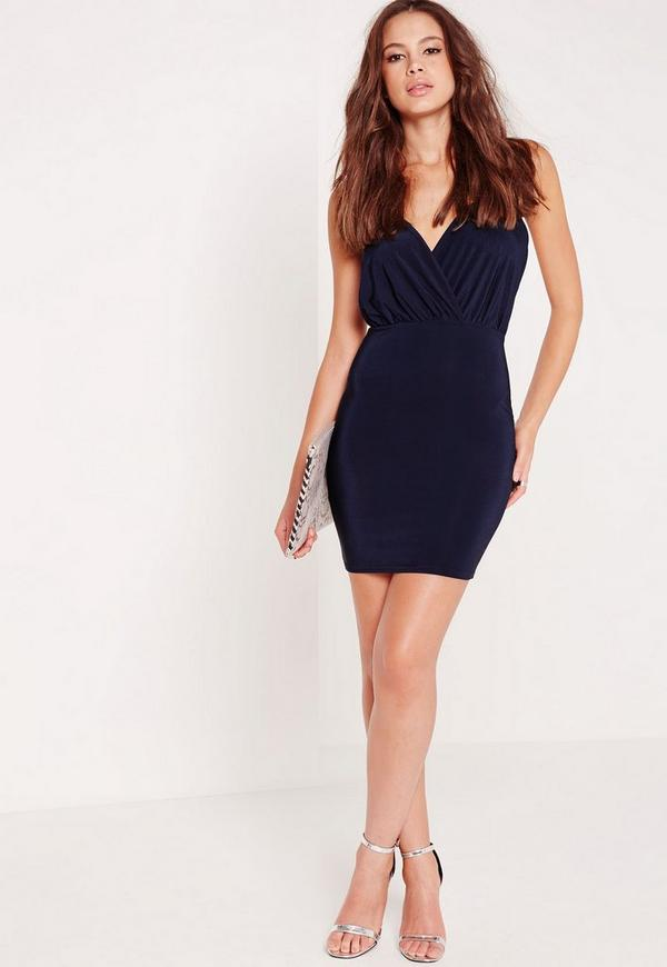Slinky Strappy Plunge Bodycon Dress Navy Missguided
