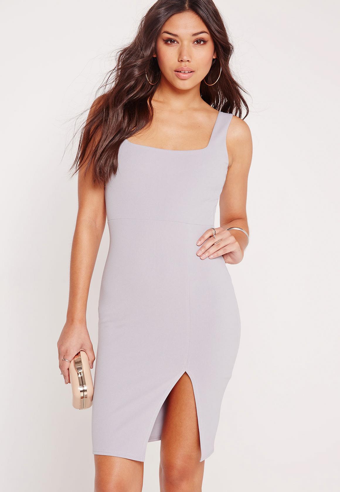 Square Neck Side Split Midi Dress Grey