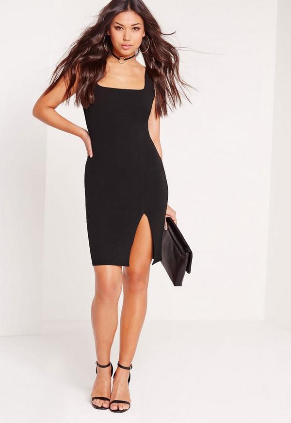 Square Neck Side Split Midi Dress Black Missguided