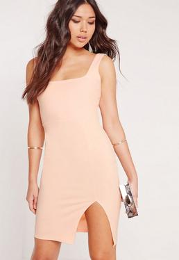 Square Neck Side Split Midi Dress Nude
