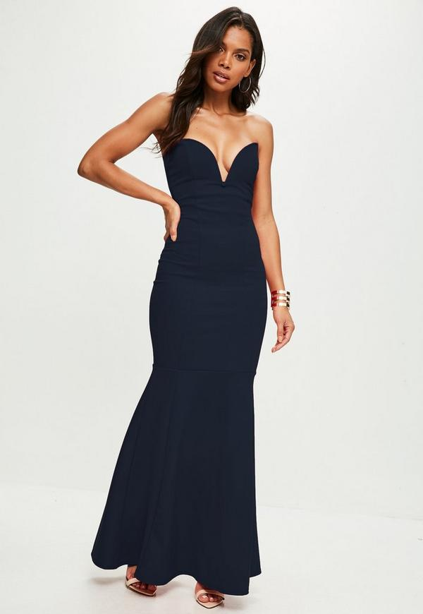 Scuba Bandeau Fishtail Maxi Dress Navy Missguided