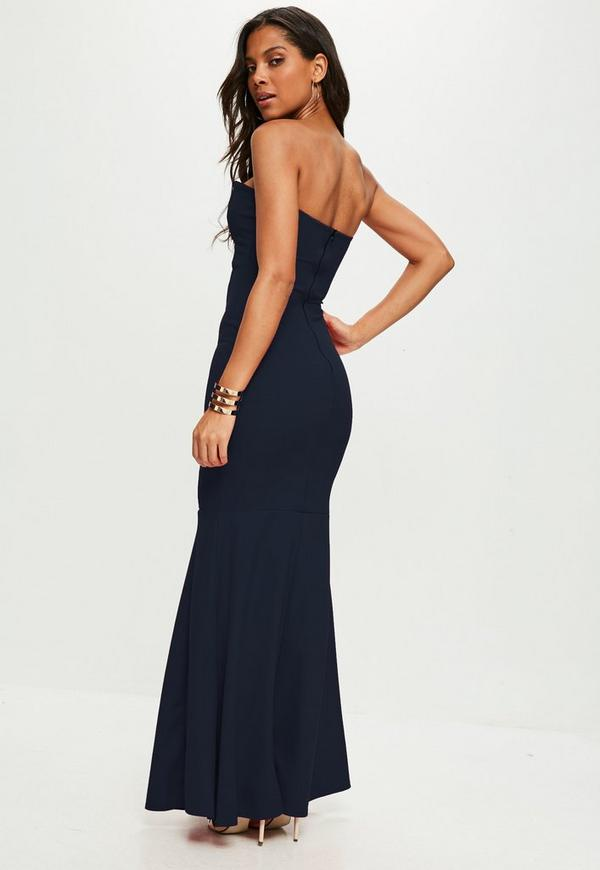 Scuba Bandeau Fishtail Maxi Dress Navy | Missguided