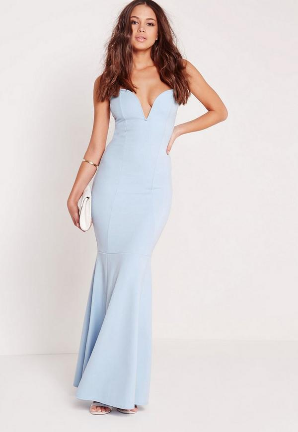 Scuba Bandeau Fishtail Maxi Dress Blue