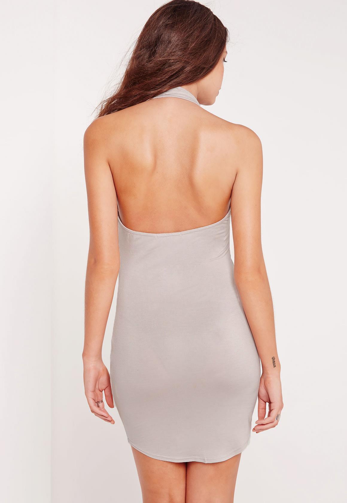 Plunge Halterneck Bodycon Dress Ice Grey
