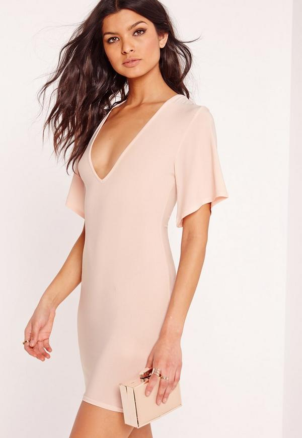 V Plunge Floaty Sleeve Bodycon Dress Pink