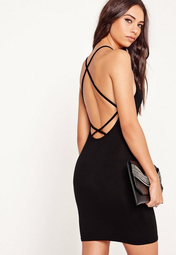 Strappy Cross Back Bodycon Dress Black