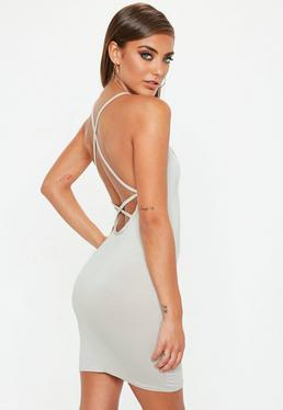 Strappy Cross Back Bodycon Dress Grey