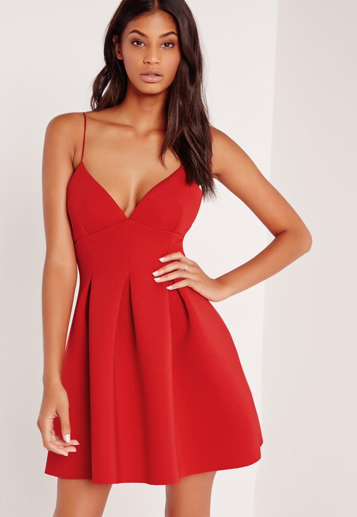 Bonded Scuba Plunge Skater Dress Red | Missguided