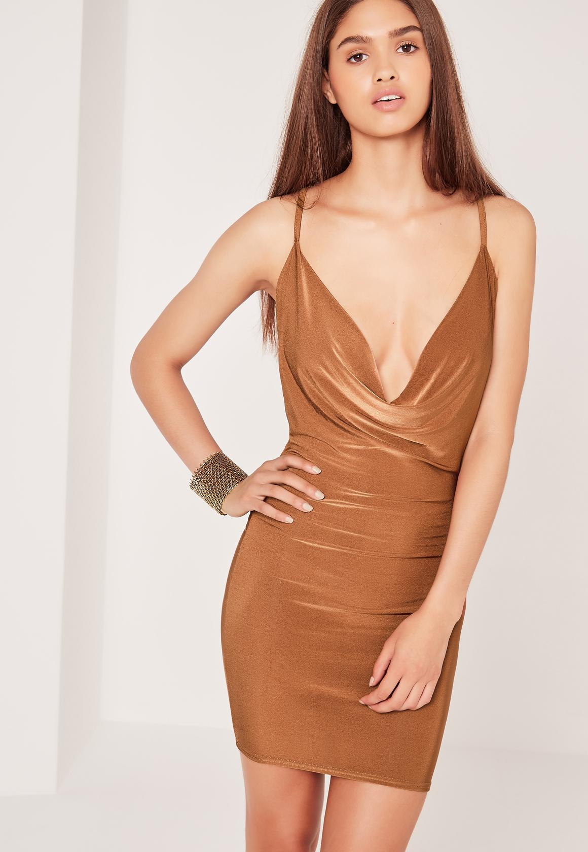 Cowl Back Front Shift Dress Brown