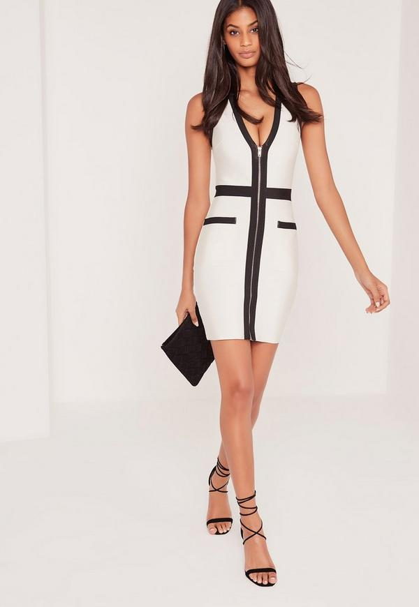 Premium Bandage Zip Front Contrast Bodycon Dress White