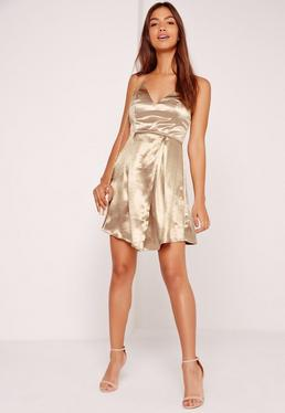 Silky Wrap Shift Dress Bronze