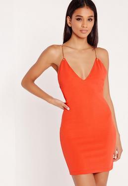 Gold Chain Strap Detail Bodycon Dress Orange