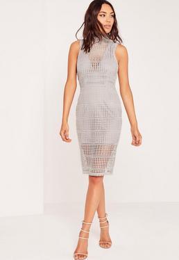 High Neck Lace Midi Dress Grey