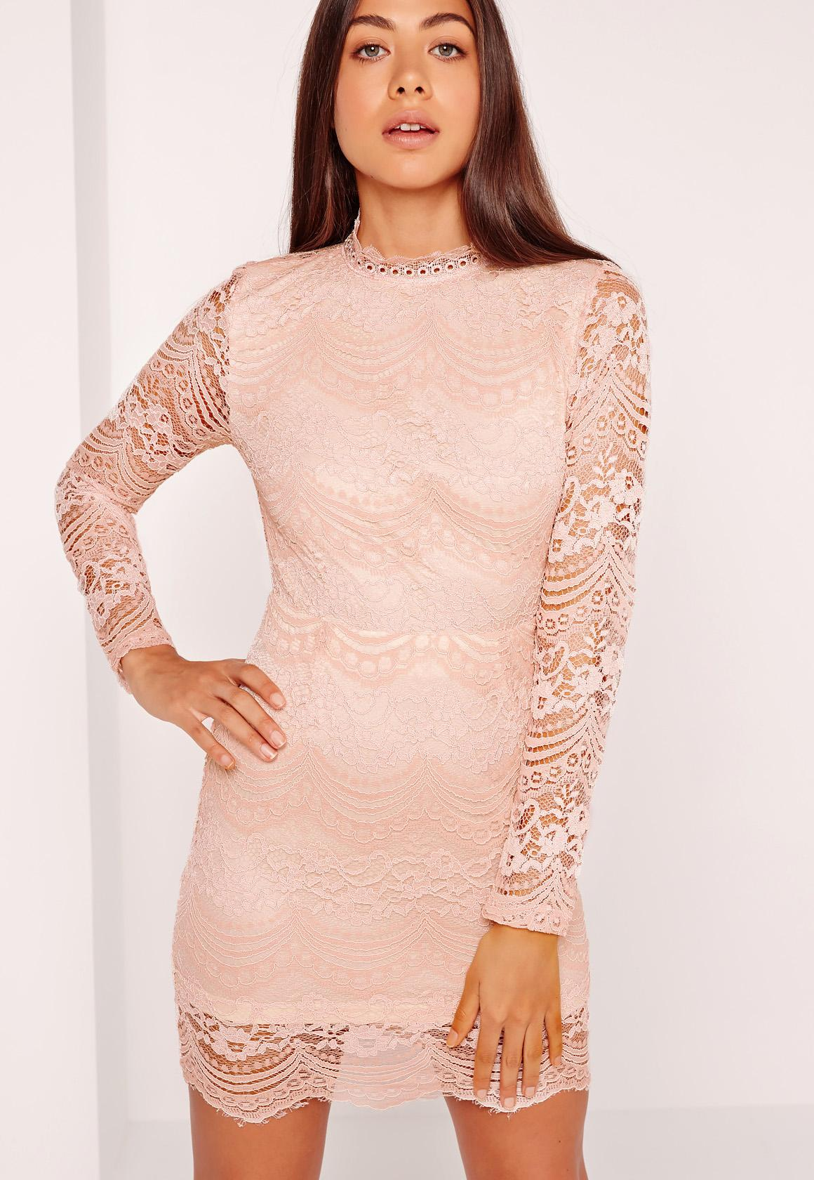 High Neck Lace Long Sleeve Bodycon Dress Pink | Missguided