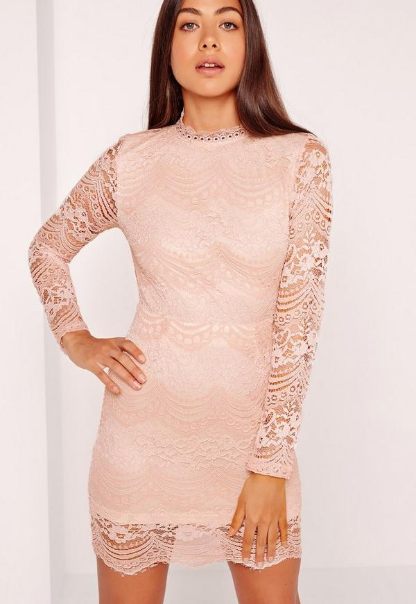 High Neck Lace Long Sleeve Bodycon Dress Pink
