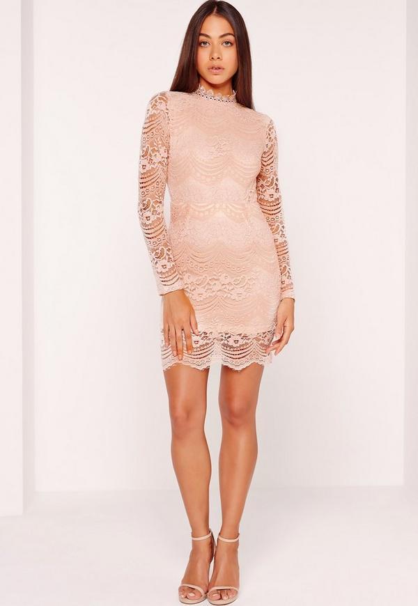 Bodycon long neck sleeve dress high sizes