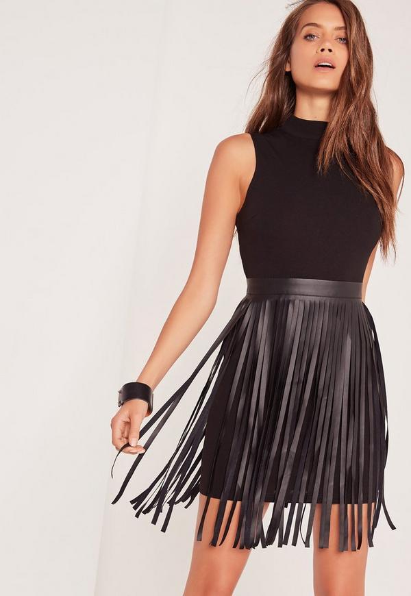High Neck Tassel Belt Bodycon Dress Black