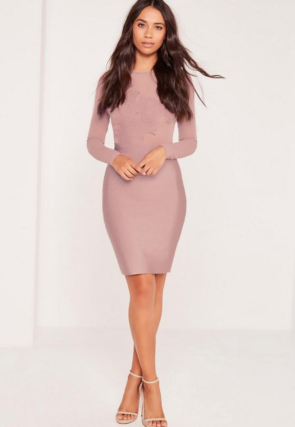 Premium Bandage Lace Applique Midi Dress Mauve