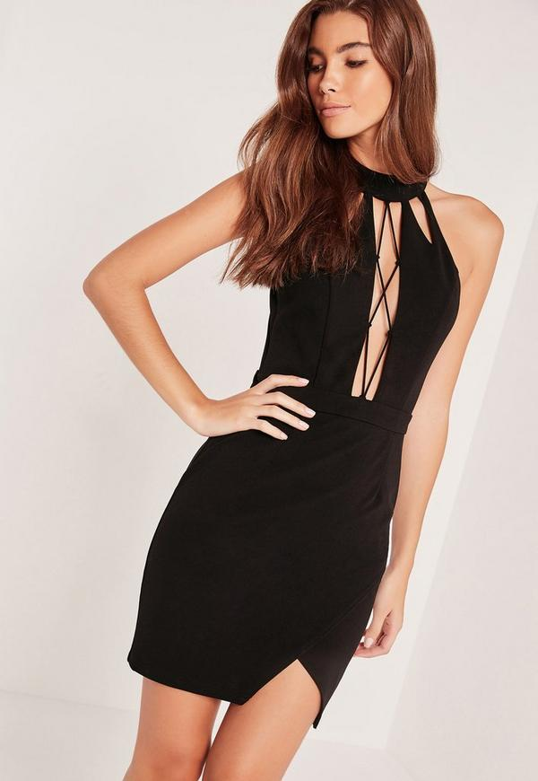Lace Up Front Bodycon Dress Black
