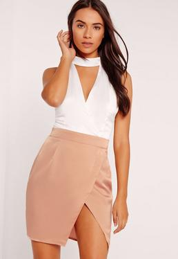 Silky Choker Wrap Skirt Shift Dress Rose Gold