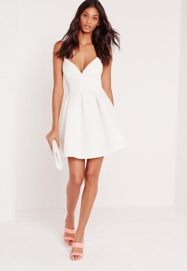 robe patineuse blanche en n opr ne missguided. Black Bedroom Furniture Sets. Home Design Ideas