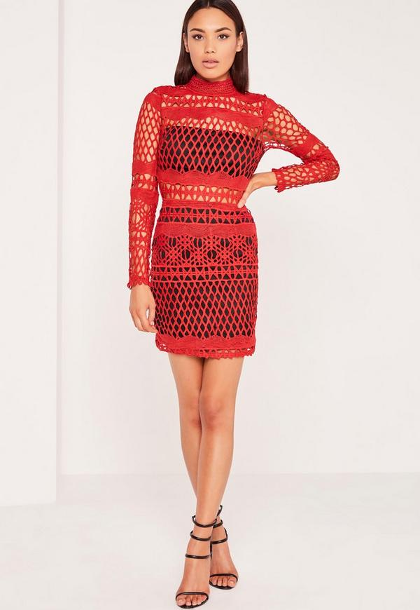 Lace Overlay Long Sleeve Bodycon Dress Red