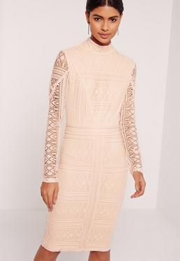 Lace Long Sleeve High Neck Midi Dress Nude